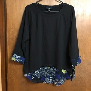 NWT AGB Tunic Top with sheer fake layering